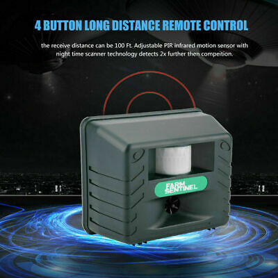 PIR Ultrasonic Animal Cat Dog Pest Repeller Repellent Scarer Outdoor Garden 3.6W