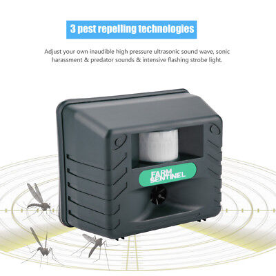 Electronic IR Ultrasonic Bird Animal Pest Repeller Repellent with 4 Alarm Sounds
