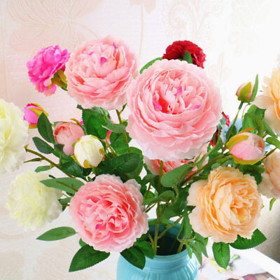 15 Heads 1 Bouquet Mini Rose Artificial Flower Colorful Silk Flowers Party Decor
