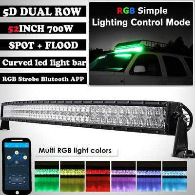 Curved 52inch 700W 5D CREE LED Light Bar Combo Multi-Color Offroad APP Control