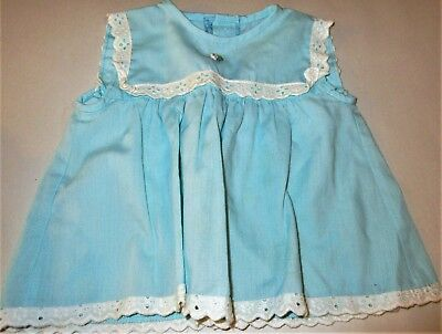 1970s Vintage Baby Clothing Blue Girls Dress 3m