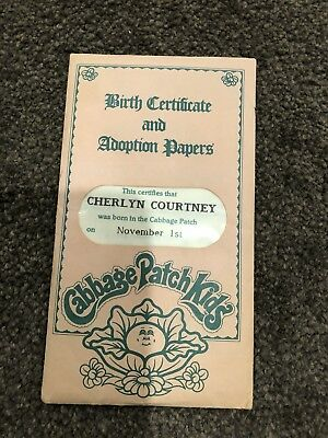Cabbage Patch Kids - Coleco Birth Certificate /Adopt Paper (Cherlyn Courtney)