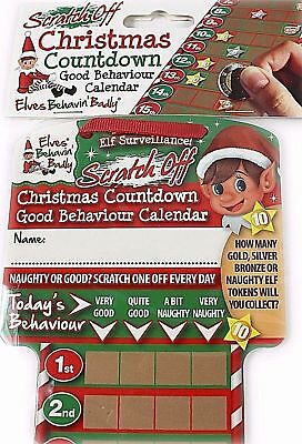 2 x naughty ELF ON THE SHELF Sratch Off Advent Calendar REWARD Chart
