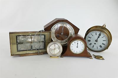 Lot of 5 x Vintage Key/Hand-Wind&Electric Clocks Mixed Designs SPARES&REPAIRS