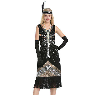 Women's Vintage 1920s Style Gatsby Sequin Flapper Dress Cocktail Party Dresses
