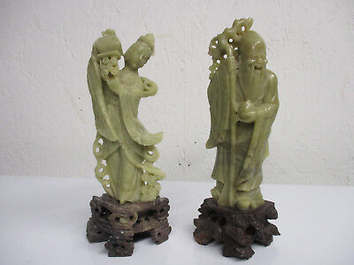 "2  -   Vintage  Chinese  Carved  Soapstone    Figurines  7-7/8""  &   7-1/2"""