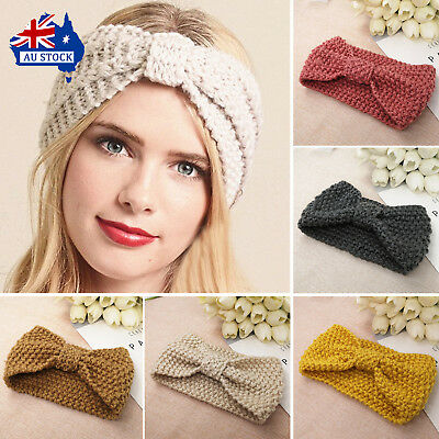 Women Lady Crochet Bow Knot Turban Knitted Hairband Winter Ear Warmer Headband