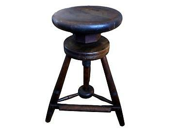 Antique Oak industrial stool - 8 cm Adjustable Heights  18th Century