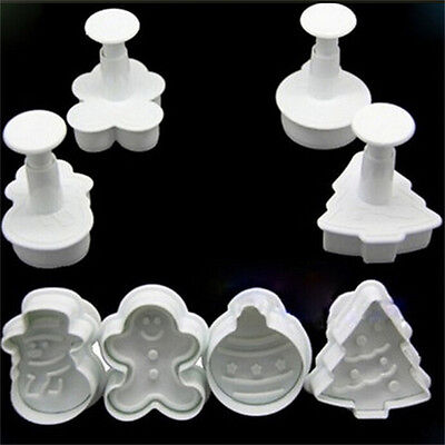 DIY Christmas Snowman Fondant Cake Mold Biscuit Cookie Plunger Cutters Decor SK