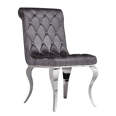 Dining Chair Armchair Stainless Steel Chrome Louis Glamour Velour Upholstery