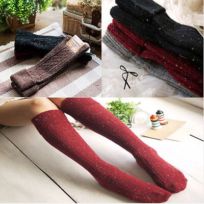 Fashion Women Dot Wool Blend Long Hose Knee High Winter Warm Boot Socks Stocking