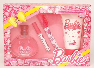 Barbie Geschenkset Eau de Toilette Spray 100 ml Parfum-Stift Lipgloss Bodylotion