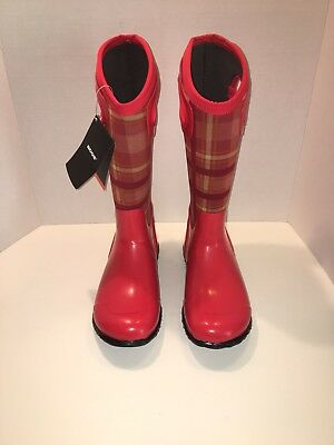 4175e960b3 BOGS North Hampton Plaid Red Insulated Tall Rain Boots Sz 6