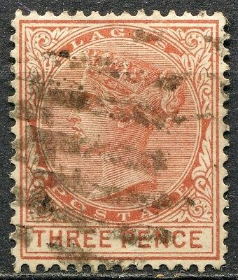 Lagos 1876 issue, SG 12, 3d Red Brown, used, CV £18