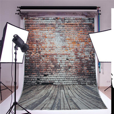 5x7ft Retro Vinyl Brick Wall Floor Photography Backdrop Studio Photo Background