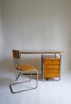 1940's Italian Bauhaus Desk & Chair By Colombus