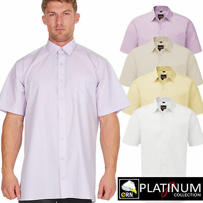 Men's Plain Cotton Everyday Shirt Easy Care Formal Casual Collar Short Sleeve