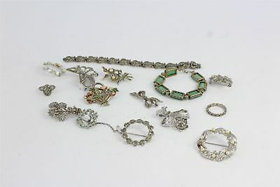 Lot of 15 x Vintage Marcasite Jewellery inc Rings , Bracelets , Brooches 151g
