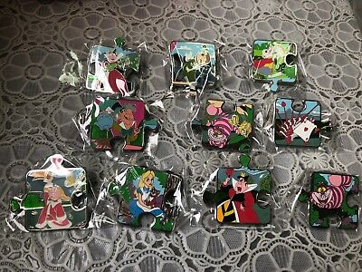 Disney trading pin set of 10 Alice in Wonderland character connection puzzle LE