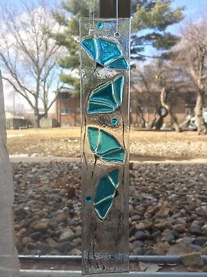 Turquoise Blue Flower Fused Stained Glass Handmade Suncatcher