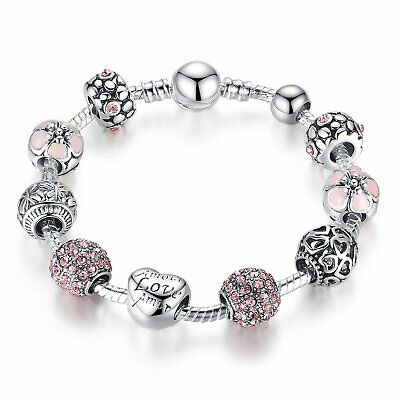 Cute Complete Charm Bracelet with 10 Charms -  925 Stirling Silver - 21cm