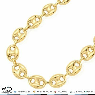 """10K Yellow Gold 12mm Puffed Anchor Mariner Chain Necklace 24""""-34"""" Lobster Clasp"""
