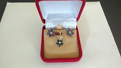 Blue Sapphire and Diamond Earring & Pendant set in 18cGold