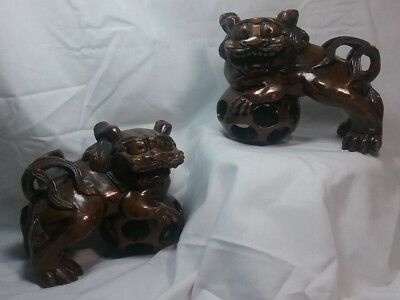 A Pair of Chinese Large Wood Carving Foo Dog/Lion  Sculpture Statute Red Eyes