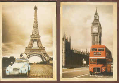 Retro style Postcards London Bus/Tower of London and Citreon/Eifel Tower's C20