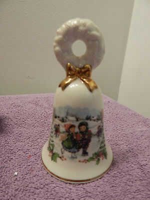 1986 Avon - Christmas Bell - Wreath Bow Top - Ceramic - Ice Skaters