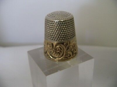 Antique Gold Band on Sterling Silver Thimble, Simons Bros.