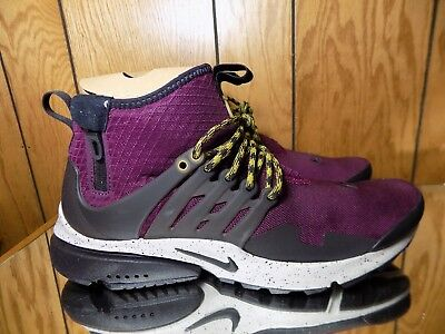 5a8bf9b6ed19 Nike Air Presto Mid Utility Men s Shoe SZ 6 Bordeaux Pale Grey Black 859524