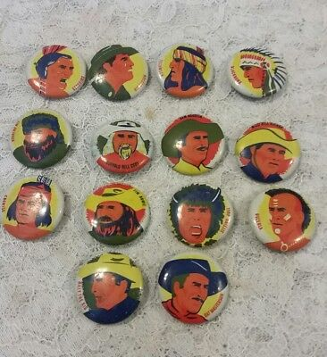 old Group of 14  Diff Cowboy & Indian  Pinback Button s,Cereal Premium s