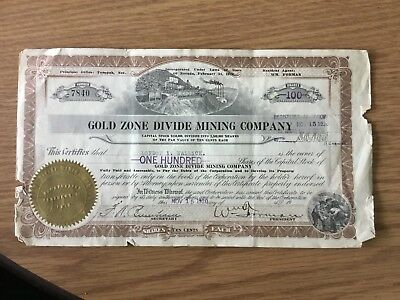 1920 Tonopah Nevada Good Zone Divide Mining Co. Stock Certificate No Reserve