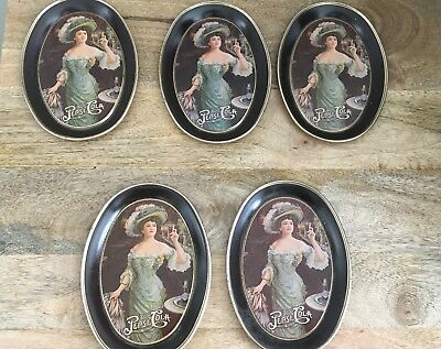 """5 Small Tin Trays~Drink Pepsi-Cola~Delicious Healthful 4.5"""" x 6""""~Great Condition"""