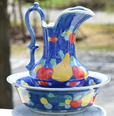 Large Vintage Chinese Porcelain Bowl & Pitcher Hand Painted Fruit Blue White