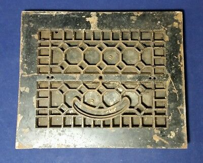"Antique I R & M Co. Metal Floor Face Heating Grate 11 5/8"" x 9 3/4"" with Louvers"