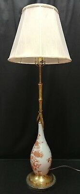 Vintage Hand Painted Enamel Over Brass Oriental Floral Pattern Electric Lamp