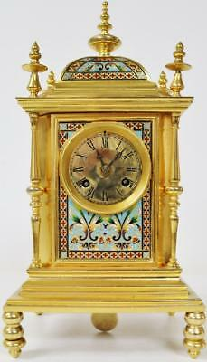 Rare Antique 19thc French Empire 8 Day Bronze & Champleve Enamel Mantel Clock
