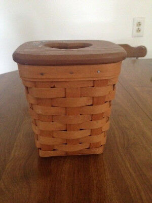 LONGABERGER 1995 Tall Tissue Basket with hand painted lid