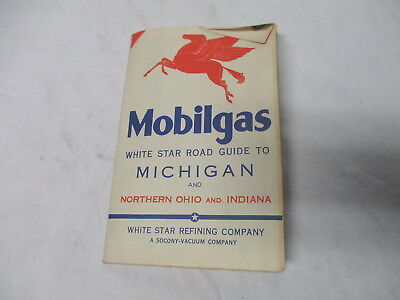 1934 Mobilgas White Star Refining Co. gasoline oil gas station road map--Michiga