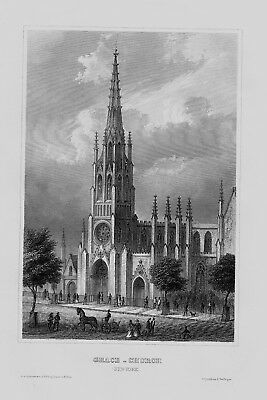 1840 - New York Grace Church Kirche Kathedrale America engraving Stahlstich