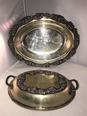 "Sheffield Silver Antique 1908 Ornate Grapevine 11"" Covered Serving Dish"