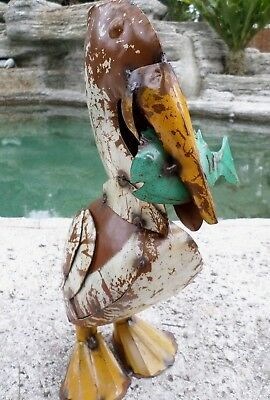 "16"" Recycled Metal Art Lake Nautical Pelican Fish Rustic Restaurant Yard Garden"