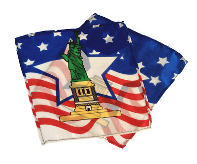 "9"" VANISHING STATUE OF LIBERTY 2 SILK SET Magic Trick Patriotic Thumb Tip Vanish"