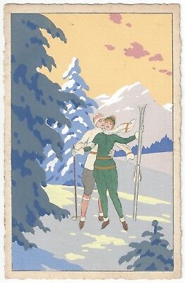 1930 Artist Signed Skiing, Affectionate Women Embrace, Lesbian Theme, Italy