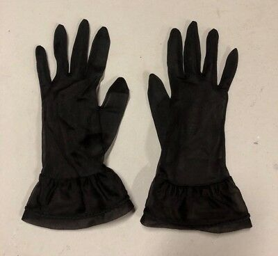 Vintage sheer black gloves wrist length with ruffle