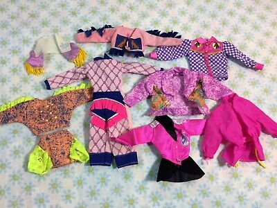 Vtg Lot Of Barbie Clothes And Accessories Dresses Cowgirl Shirts Fashion