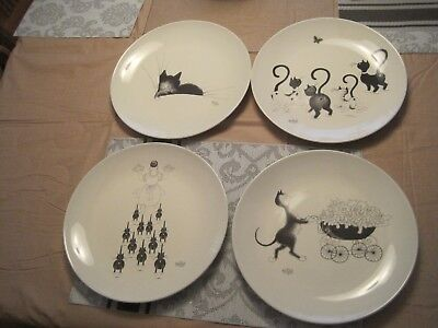 Set of 4 -  2002  Dubout Cat Plates