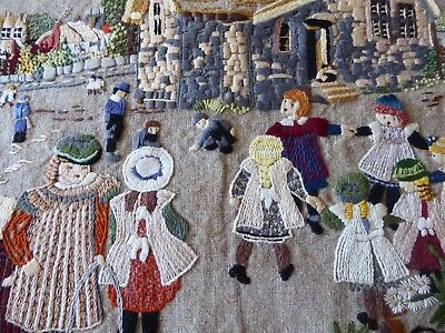 Vintage Hand Embroidered Picture -  Victorian Schoolyard With Lots Of Detail